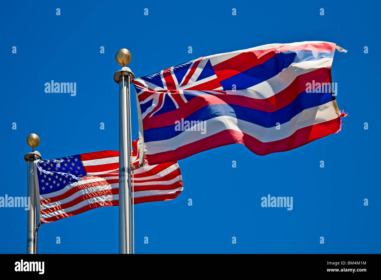 Flags of Hawaii and USA, Big Island, Hawaii, USA Stock Photo