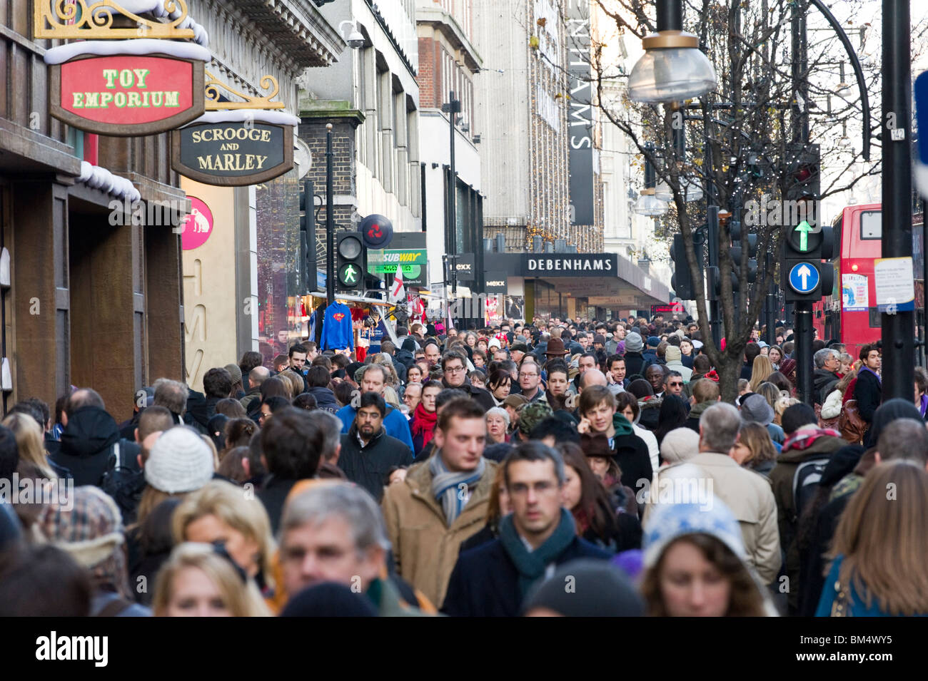 Christmas shoppers on Oxford Street, London, England, UK Stock Photo