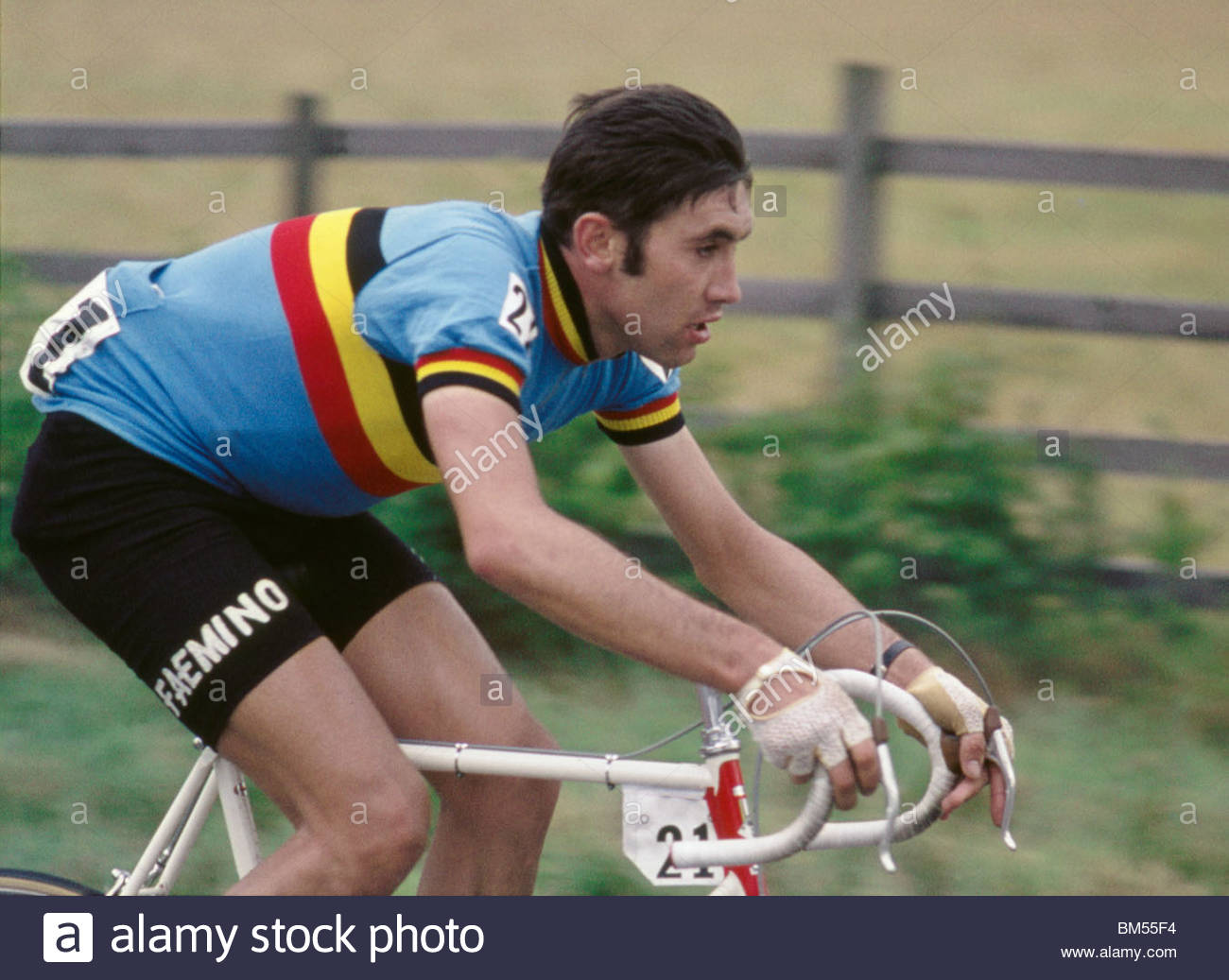 Legendary sportsman Eddy Merckx riding for the Belgian national team in the cycling World Championships – 1970s Stock Photo