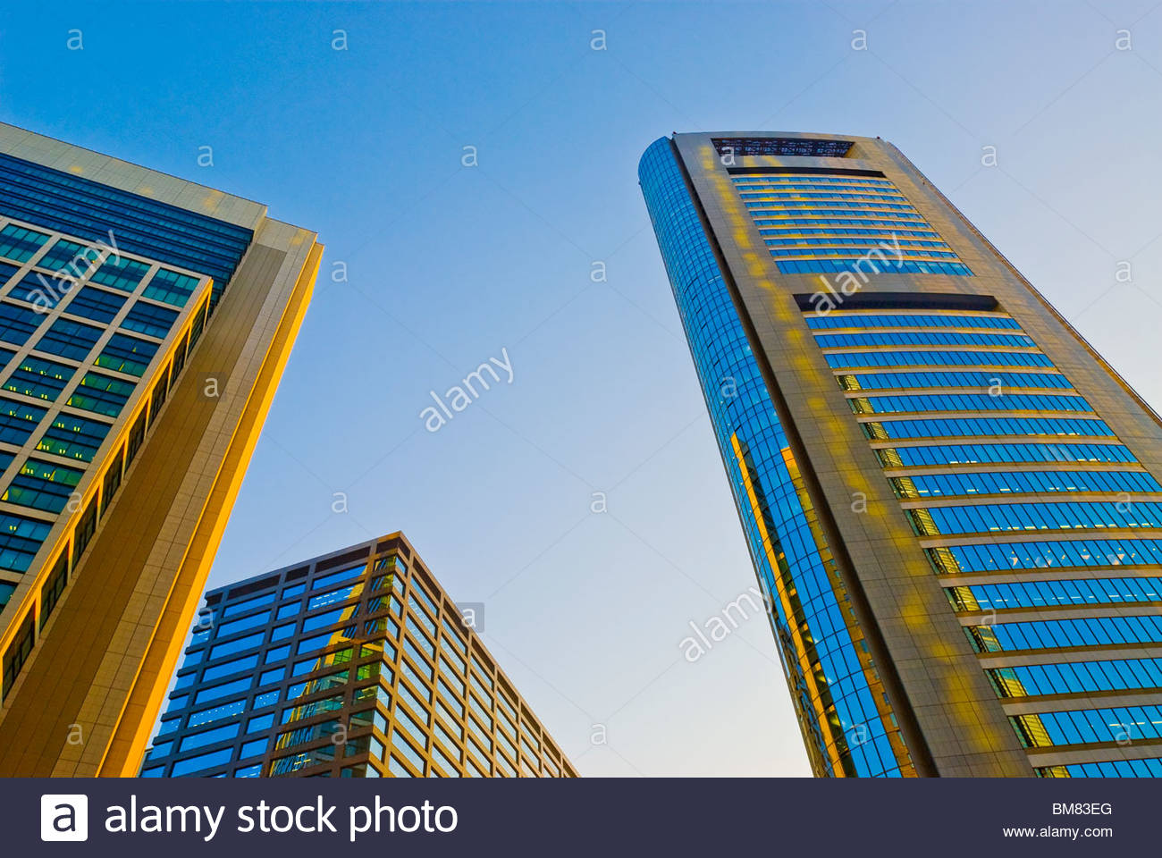 Looking Up Skyscraper Office Building Towers in Shiodome. - Stock Image