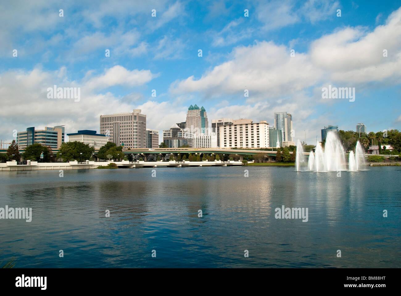 City Center and Lake Lucerne in Orlando, Florida, USA - Stock Image
