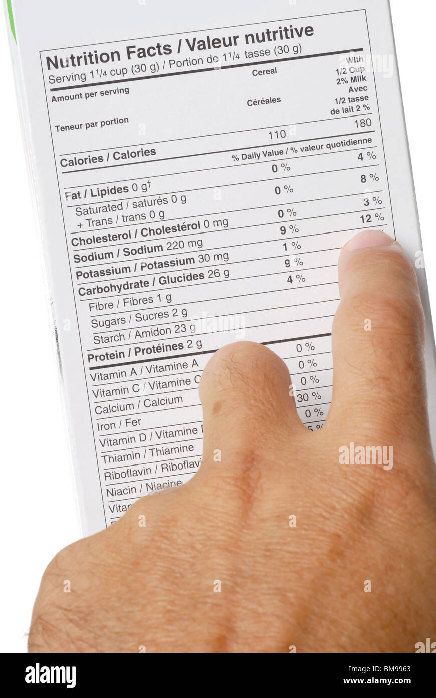 Nutrition fact label and hand pointing at 12 percent sodium - Stock Image