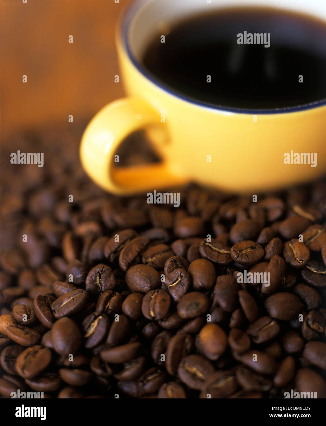 Coffee Cup in mound of coffee beans - Stock Image