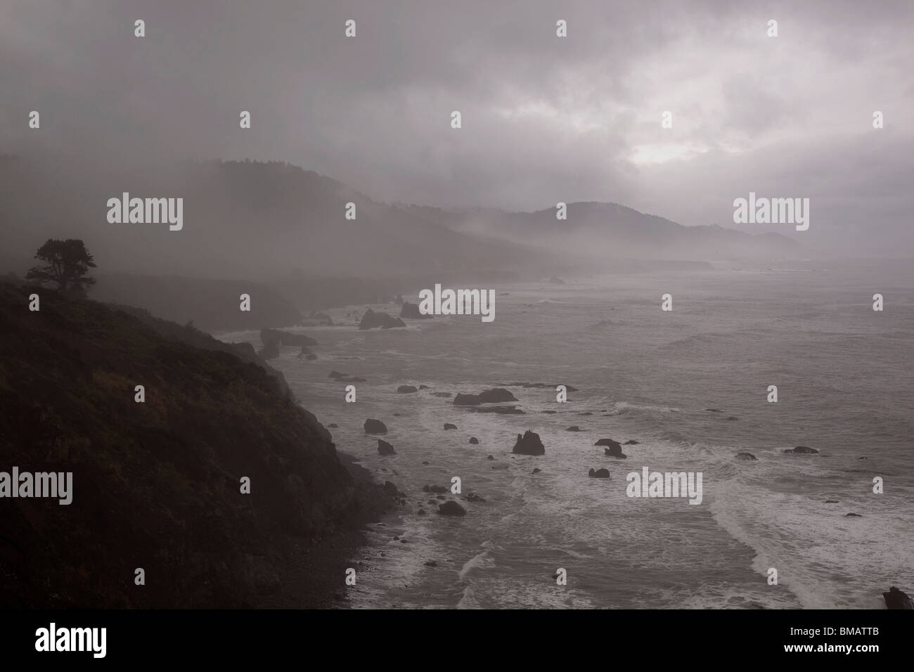 Californian coast HW1 near Westport looking south USA - Stock Image