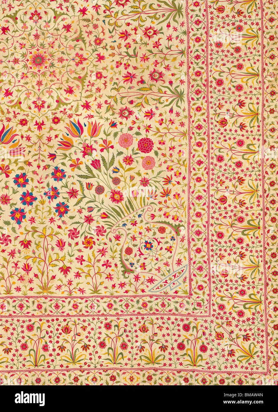 Floorspread, detail. India, 18th century - Stock Image