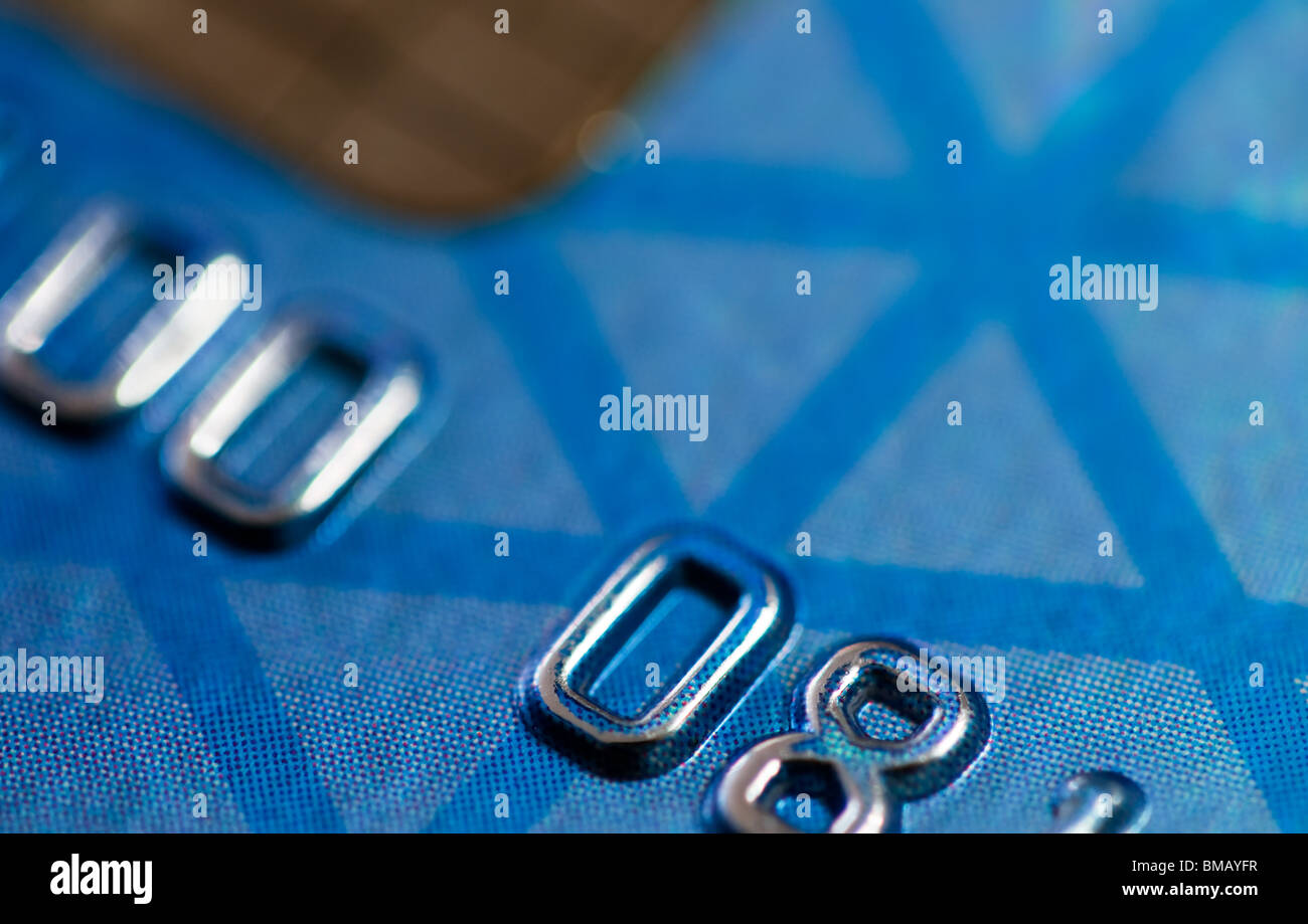 close- up with selective focus of part of a credit card - Stock Image
