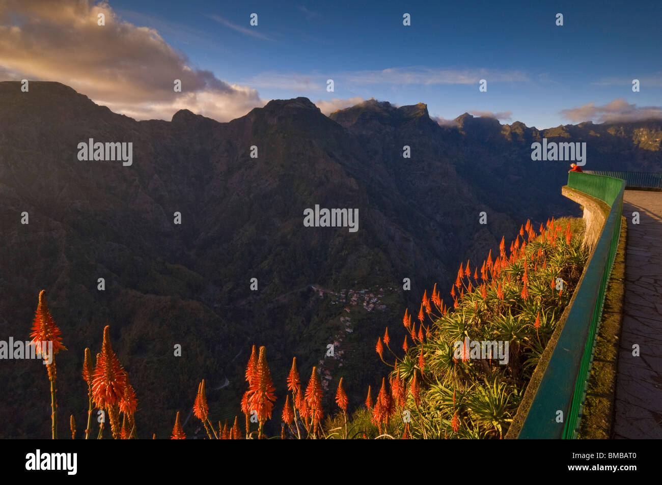 Eira do Serrado viewpoint sunset madeira portugal eu europe - Stock Image