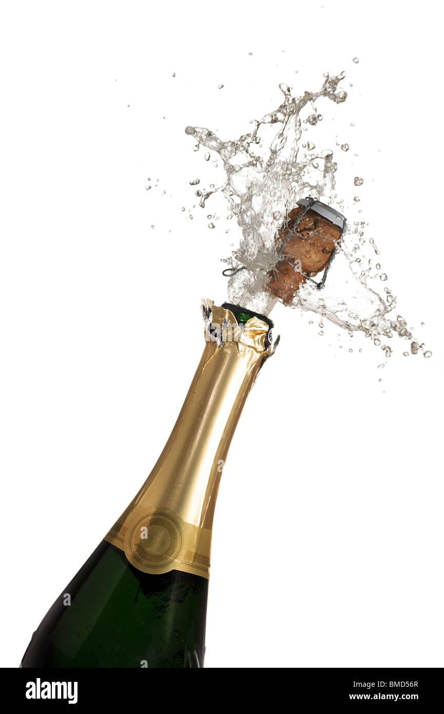 Extreme close-up of explosion of champagne bottle cork - Stock Image