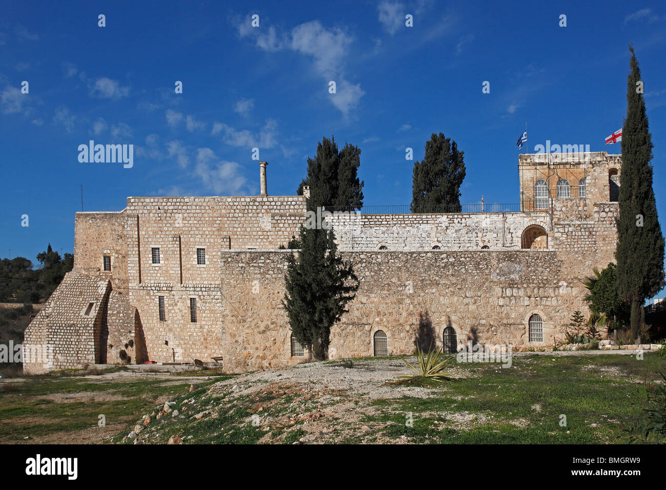 Israel,Jerusalem,St. Cross Monastery,Greek Orthodox Patriarchate,fortified walls - Stock Image