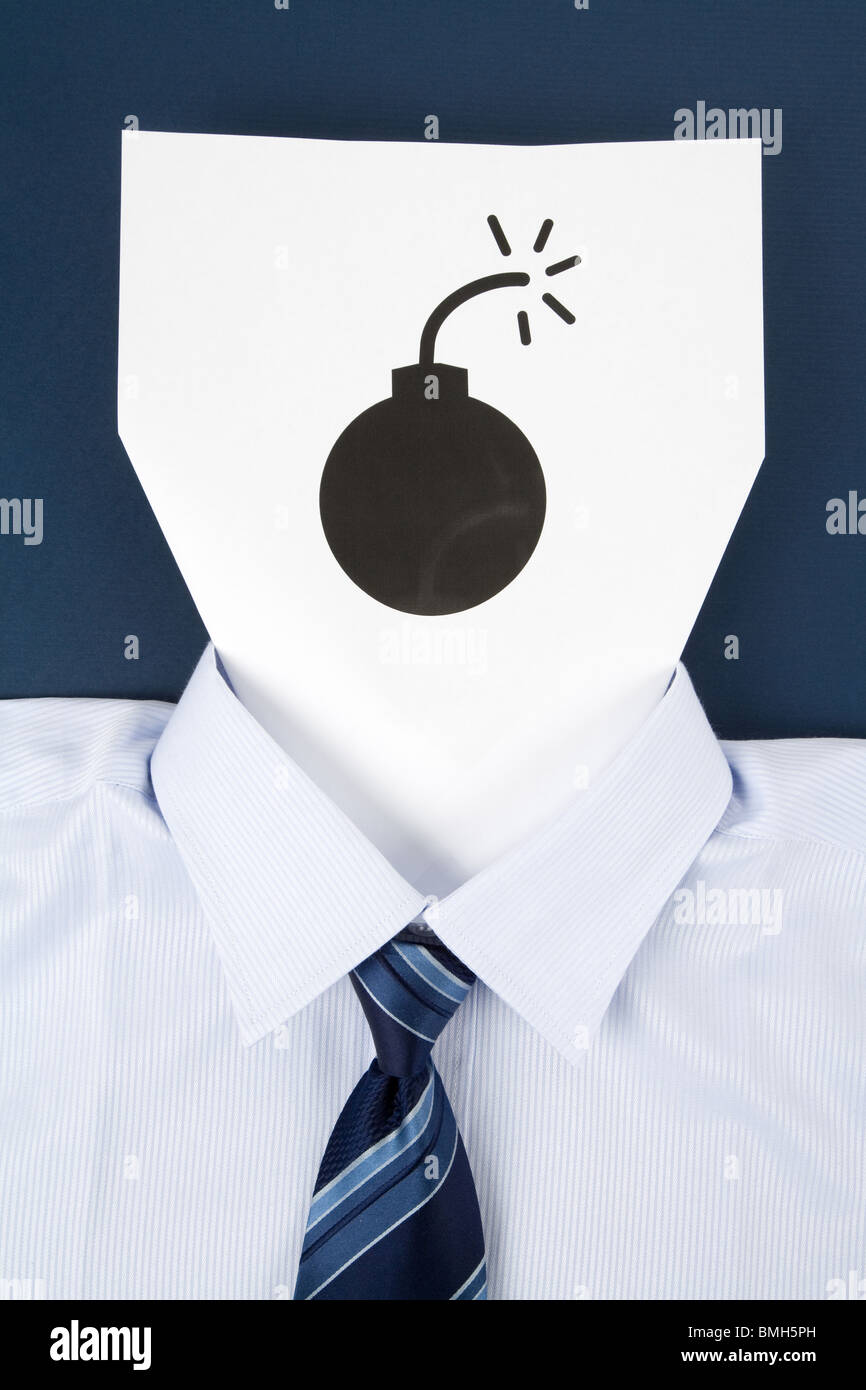 Paper Face and Bomb Sign, Business Concept - Stock Image