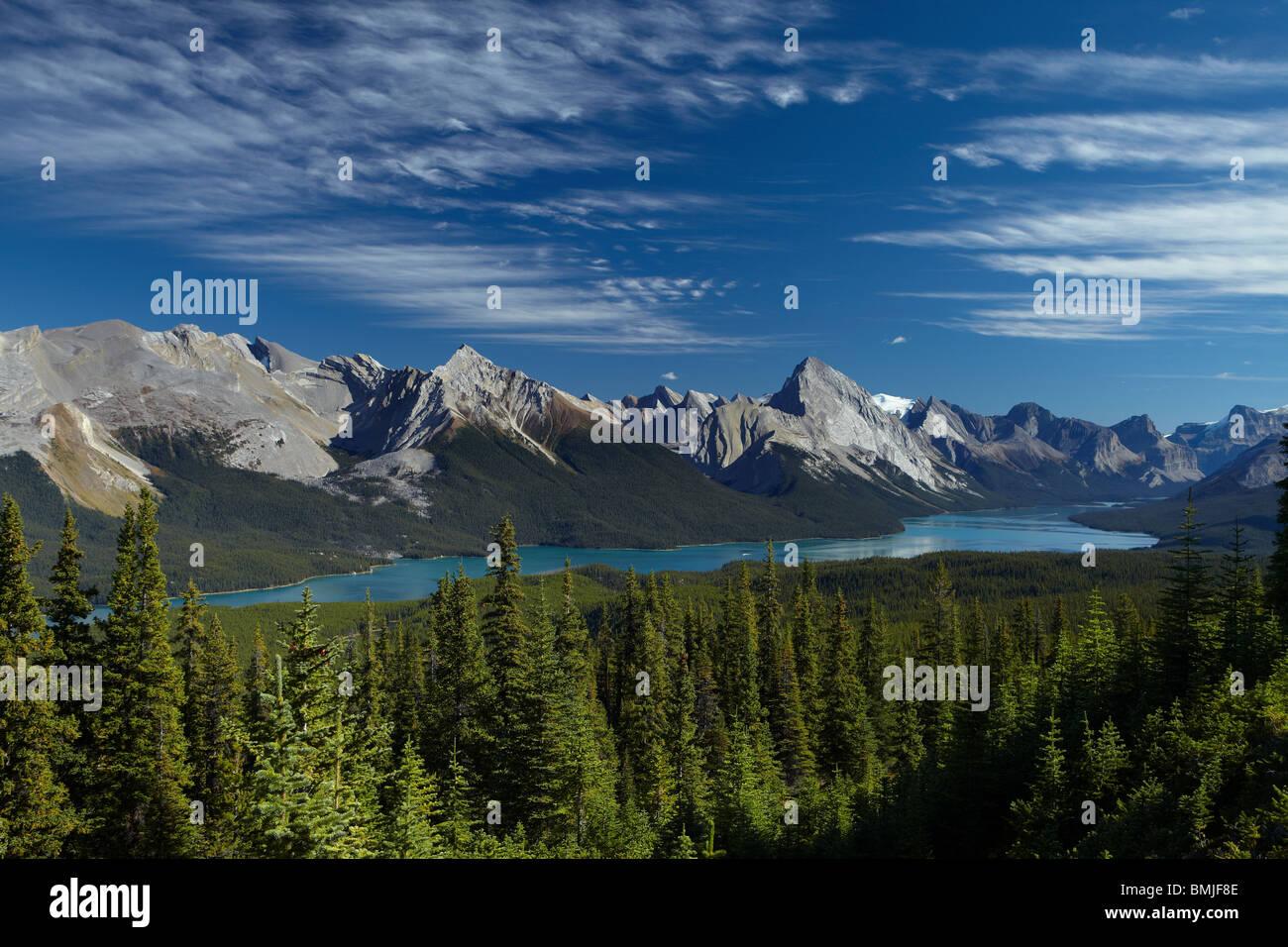 Maligne Lake from Bald Hills, Jasper National Park, Alberta, Canada - Stock Image
