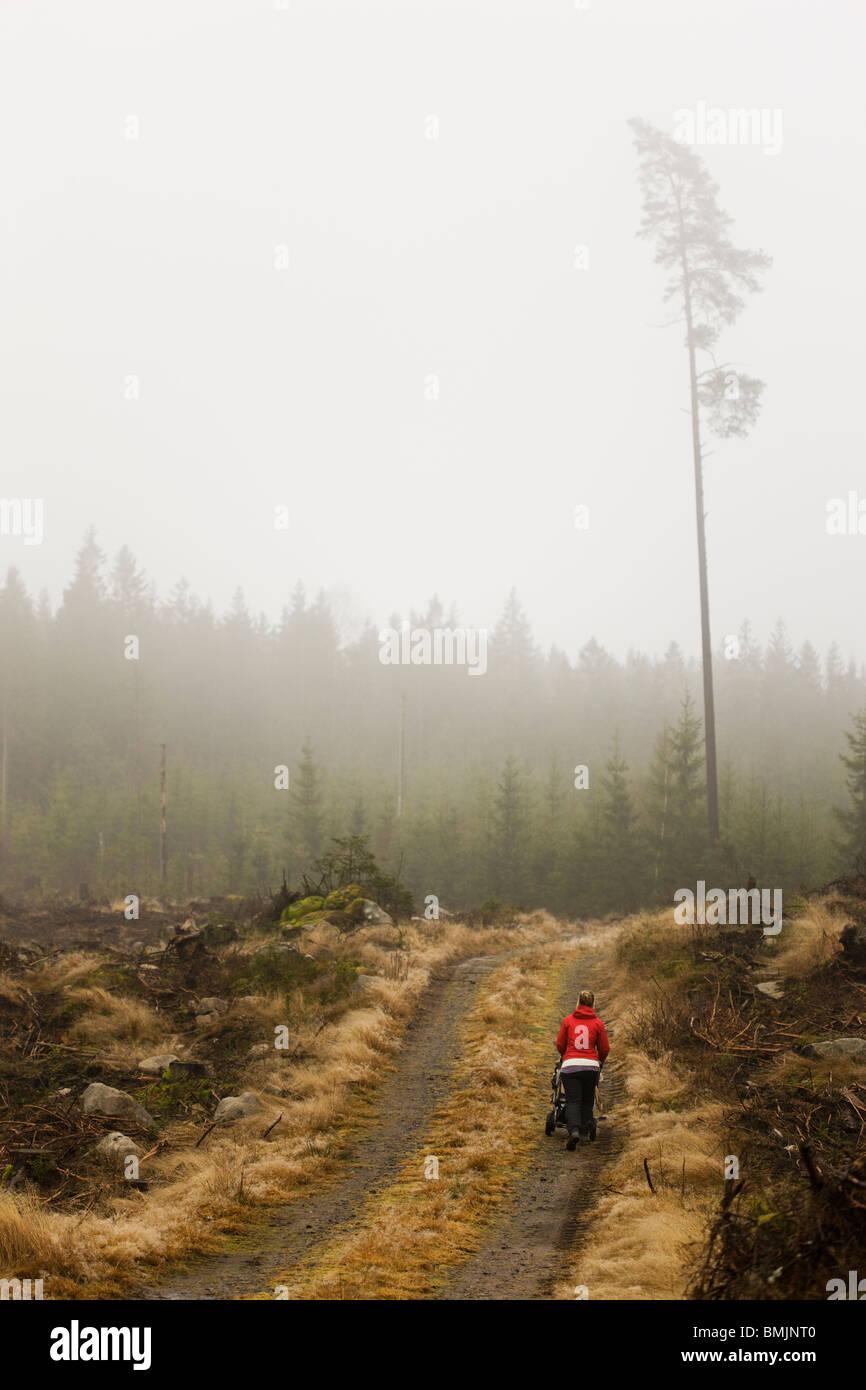 Scandinavian Peninsula, Sweden, Skane, Sodermanland, Woman walking on dirt track - Stock Image