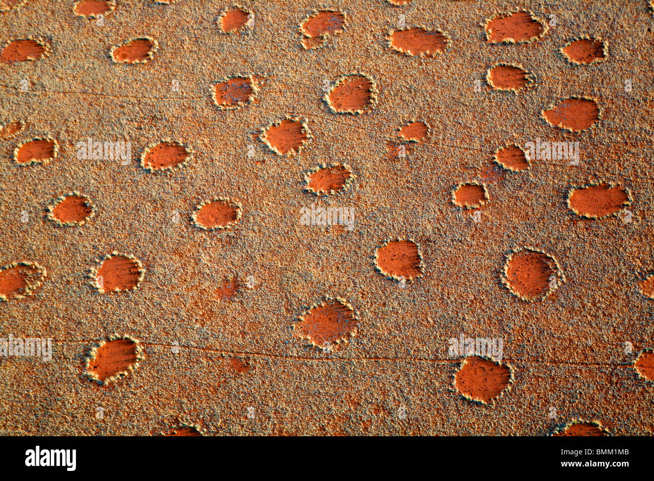 Africa Namibia Sossusvlei. Aerial view of fairy circles dotting the landscape of the Namib-Rand Nature Reserve. Stock Photo