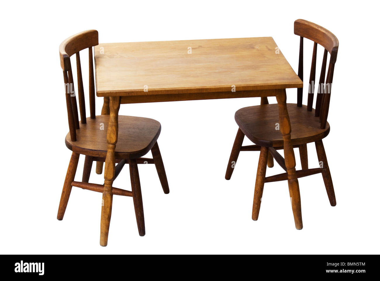 Childu0027s wood table and chair set with spindles. This is a vintage set for children.  sc 1 st  Alamy & Childu0027s wood table and chair set with spindles. This is a vintage ...