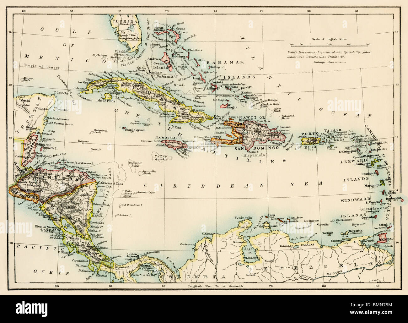 Map of West Indies and the Caribbean Sea 1800s Stock Photo