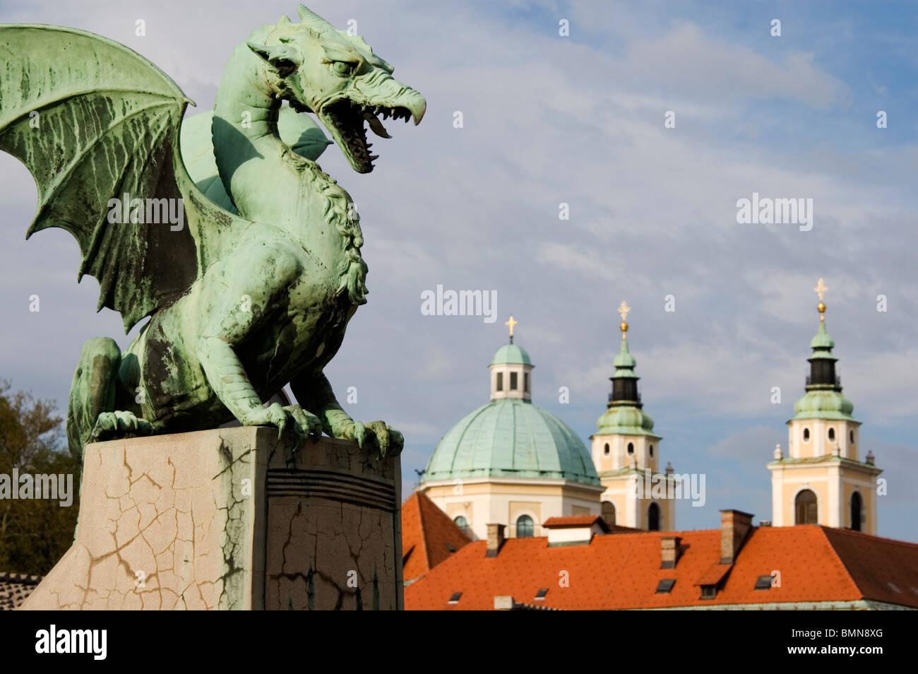 Elk191-1216 Slovenia, Ljubljana, Dragon Bridge - Stock Image