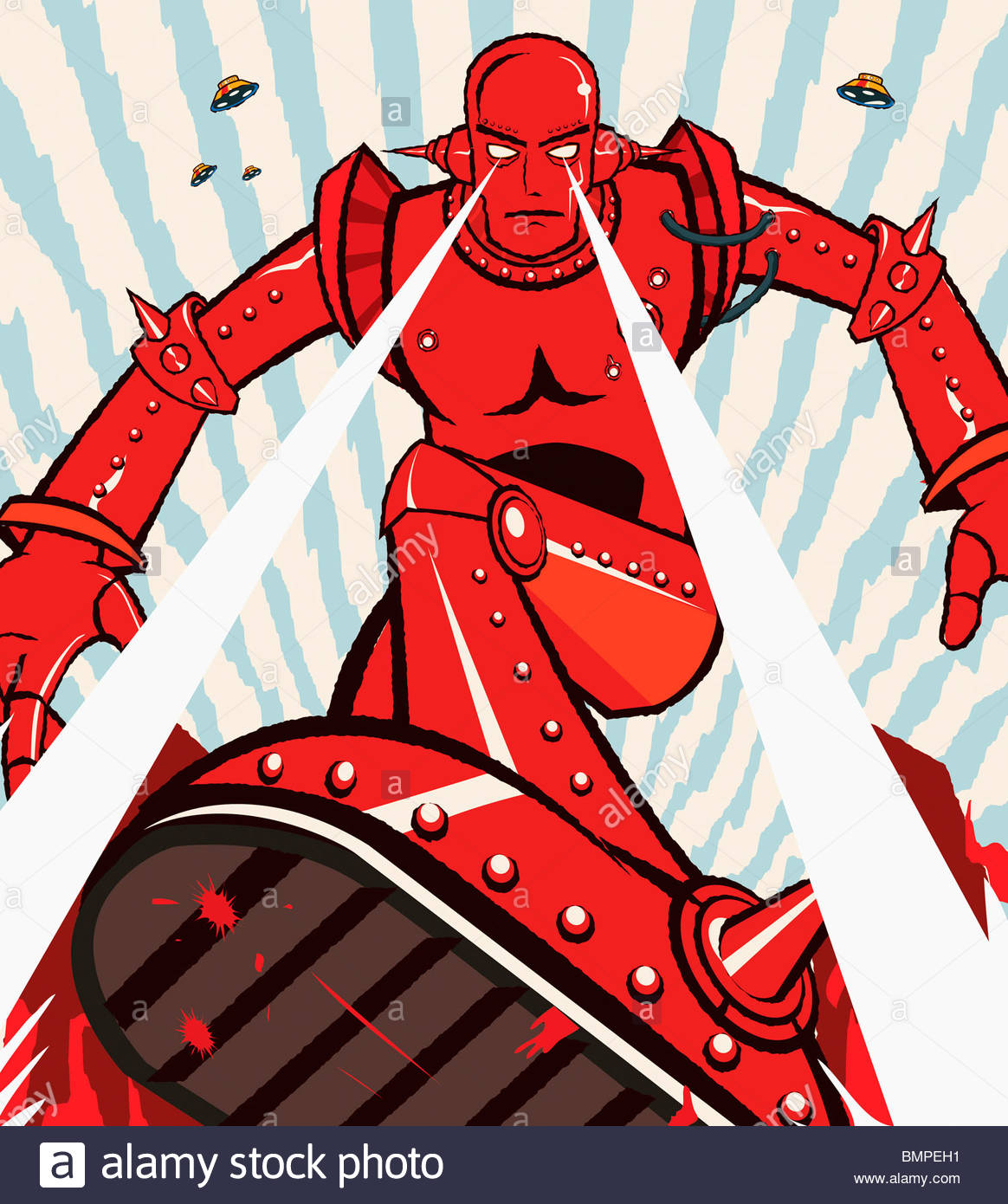 Red robot attacking with beams from eyes - Stock Image