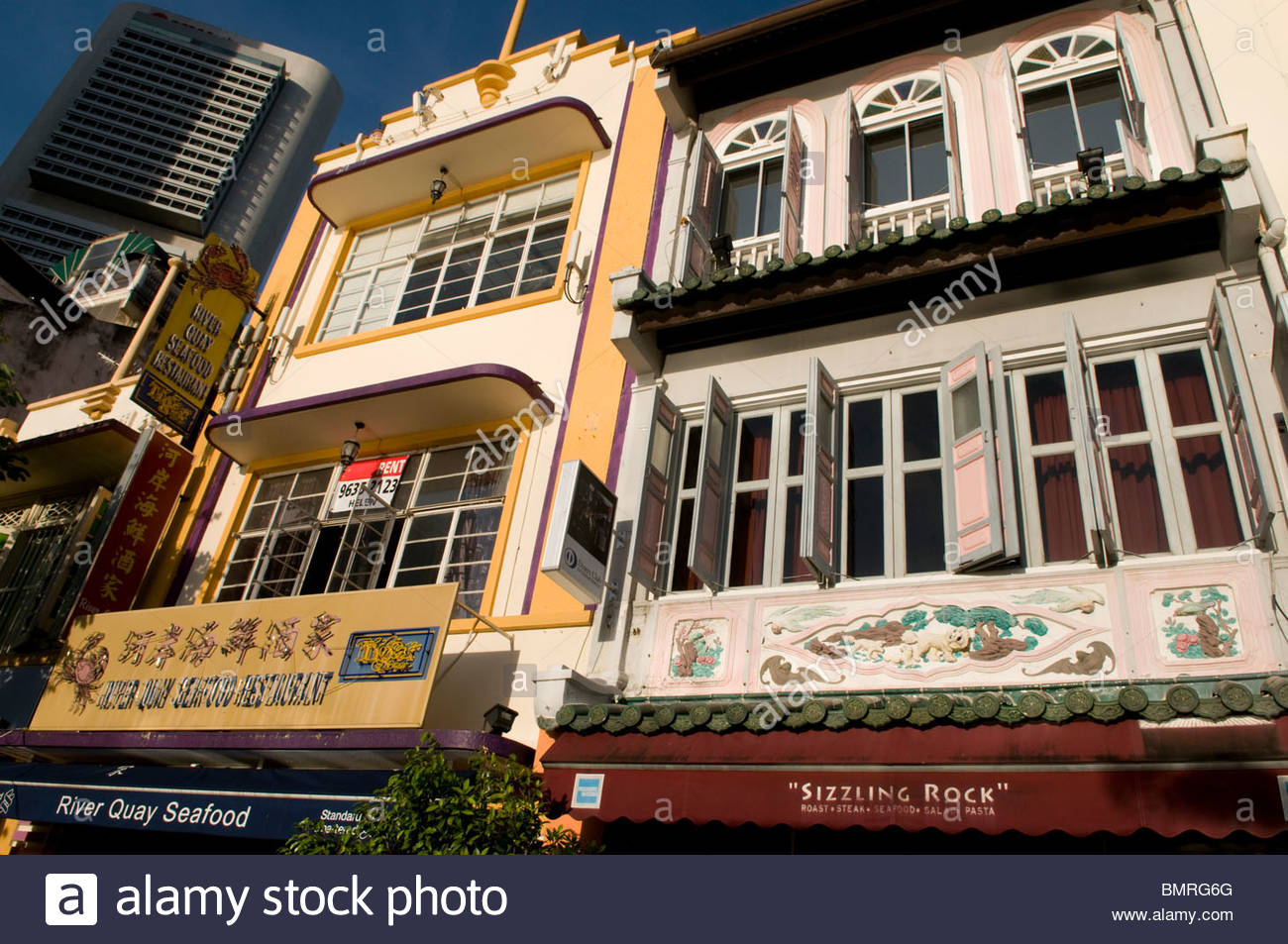 Restaurants at Boat Quay Singapore - Stock Image