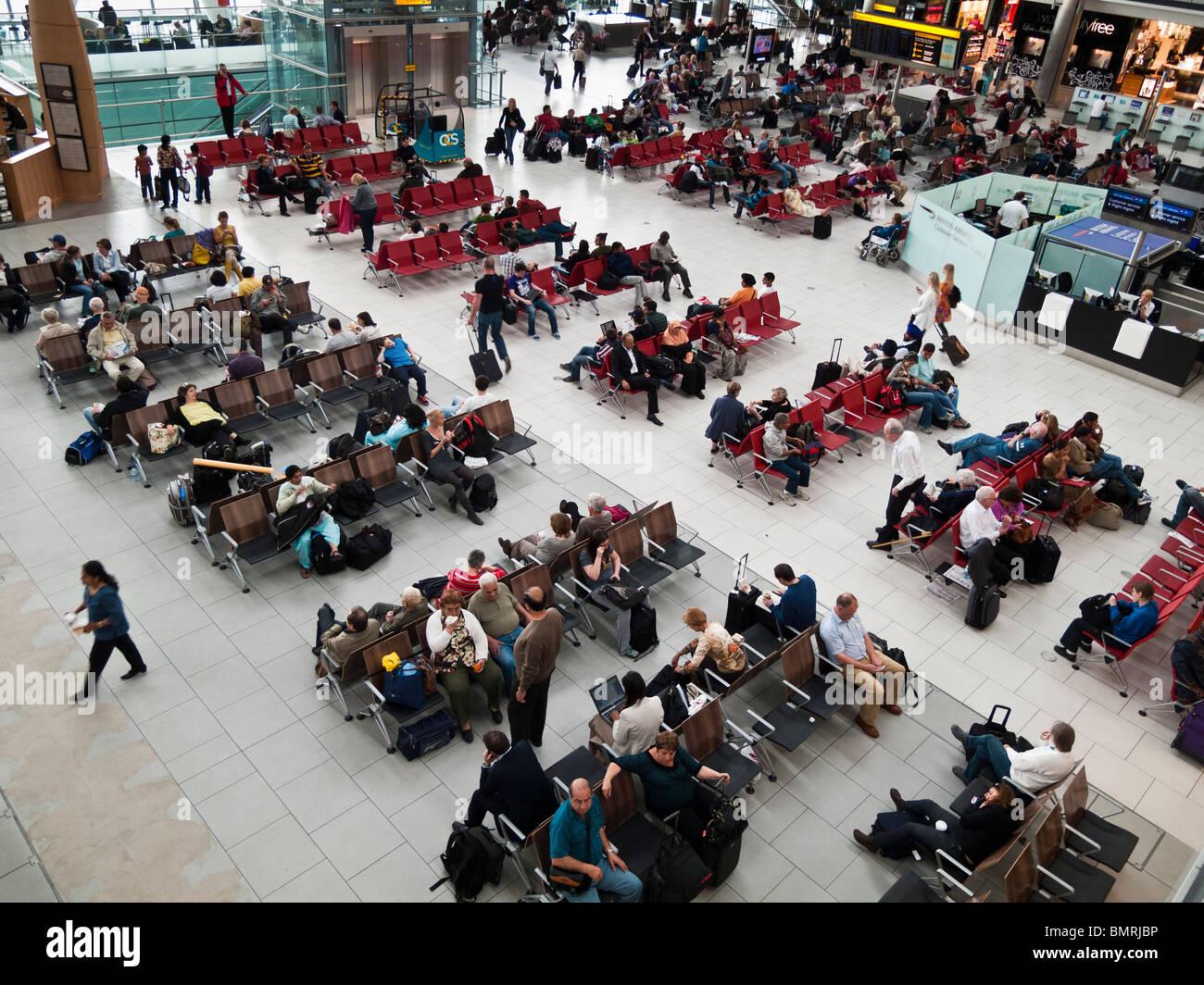 Passengers waiting for flights departure,Heathrow,Terminal 5,London - Stock Image