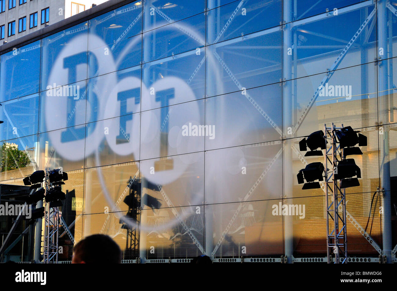 British Film Institute with Lighting rigs outside - Stock Image