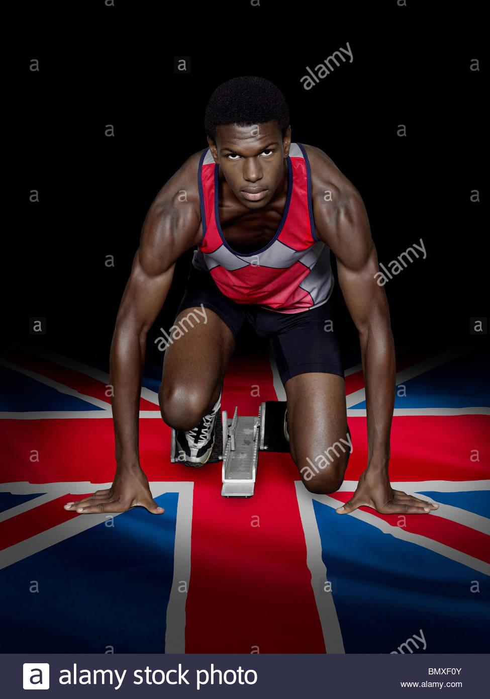 Athlete with british flag - Stock Image