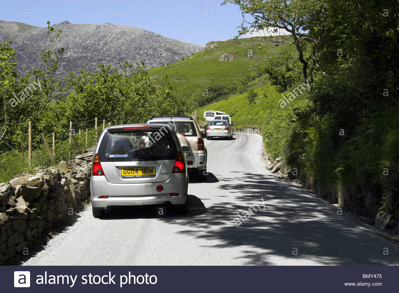 Congestion on the A498 road in Snowdonia National Park, Gwynedd, north Wales, UK. Stock Photo