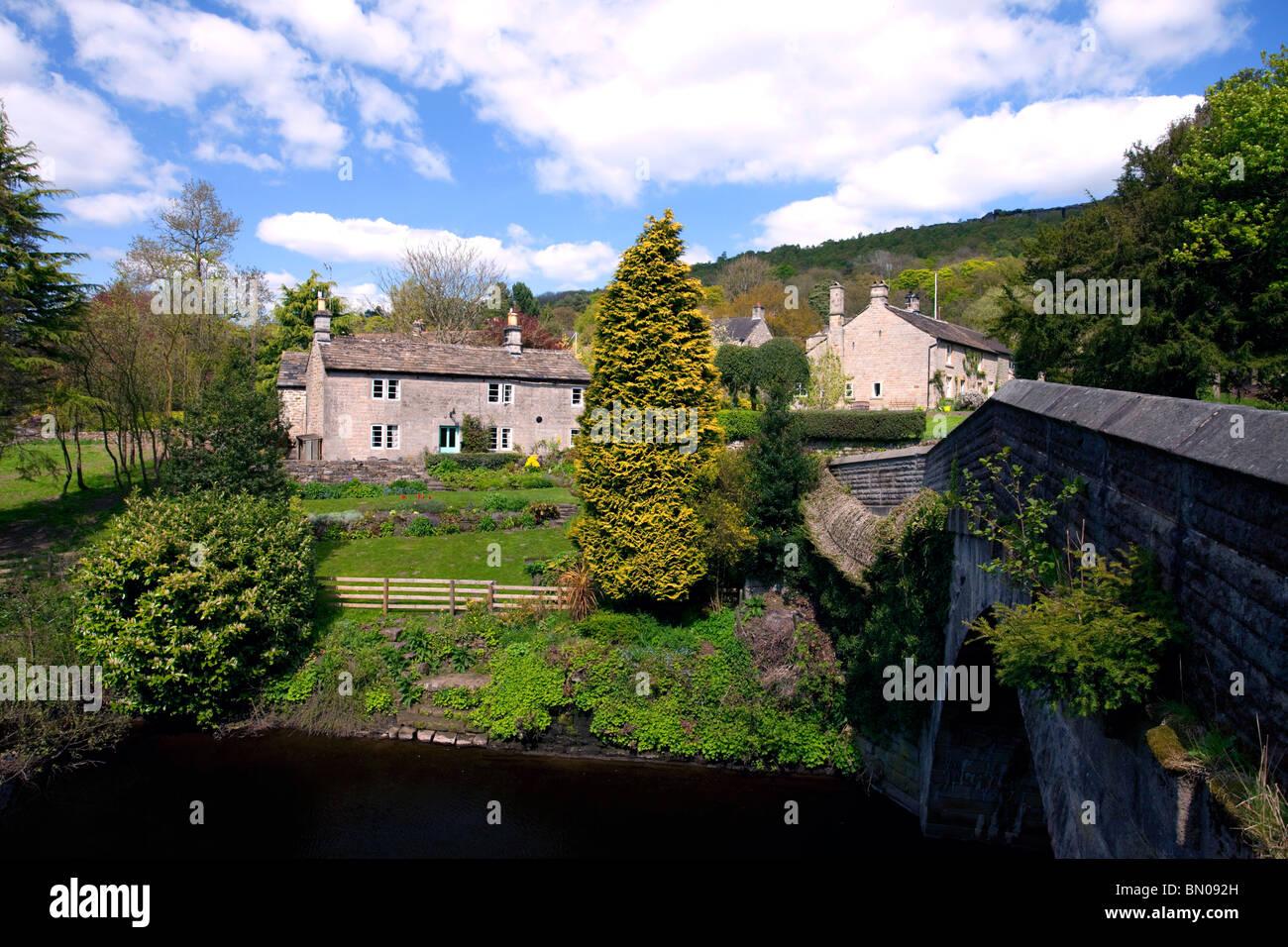 View from Froggatt bridge in the Derbyshire Peak District National Park England United Kingdom - Stock Image
