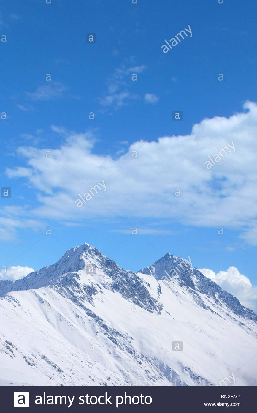 View of snowy mountain - Stock Image