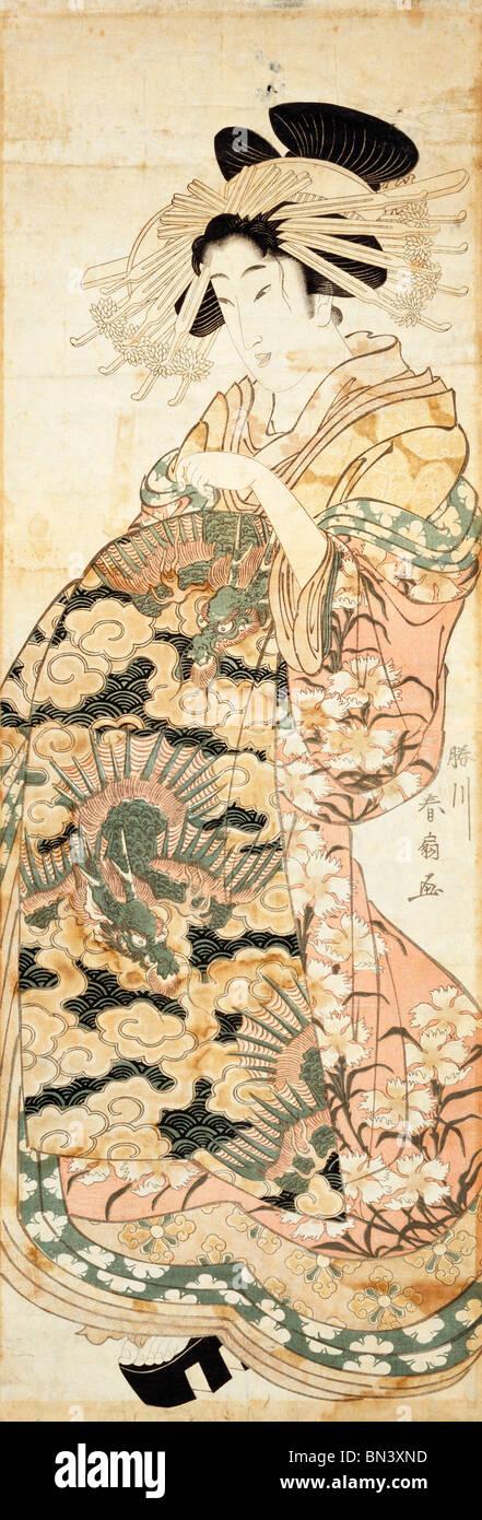 Courtesan Wearing Dragon Pattern Kimono, by Katsukawa Shunsen. Japan, 18th-19th century - Stock Image