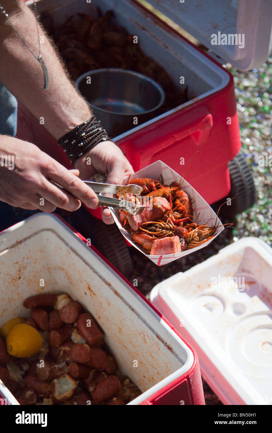 A Louisiana style crawfish boil in Austin, Texas - Stock Image