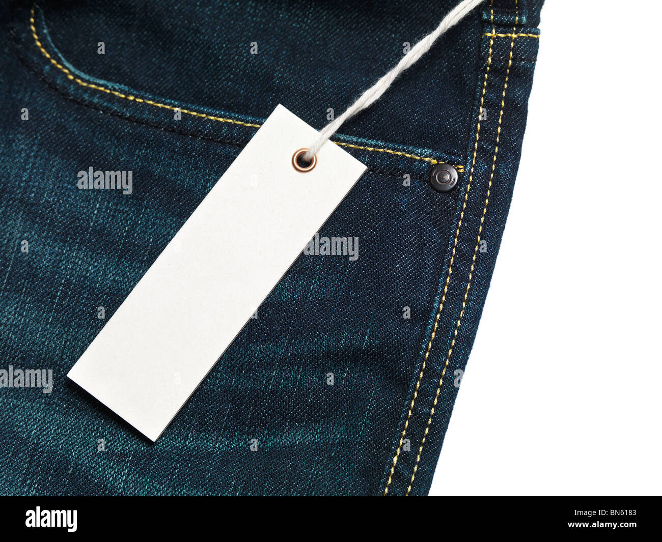 White blank lable on jeans Stock Photo