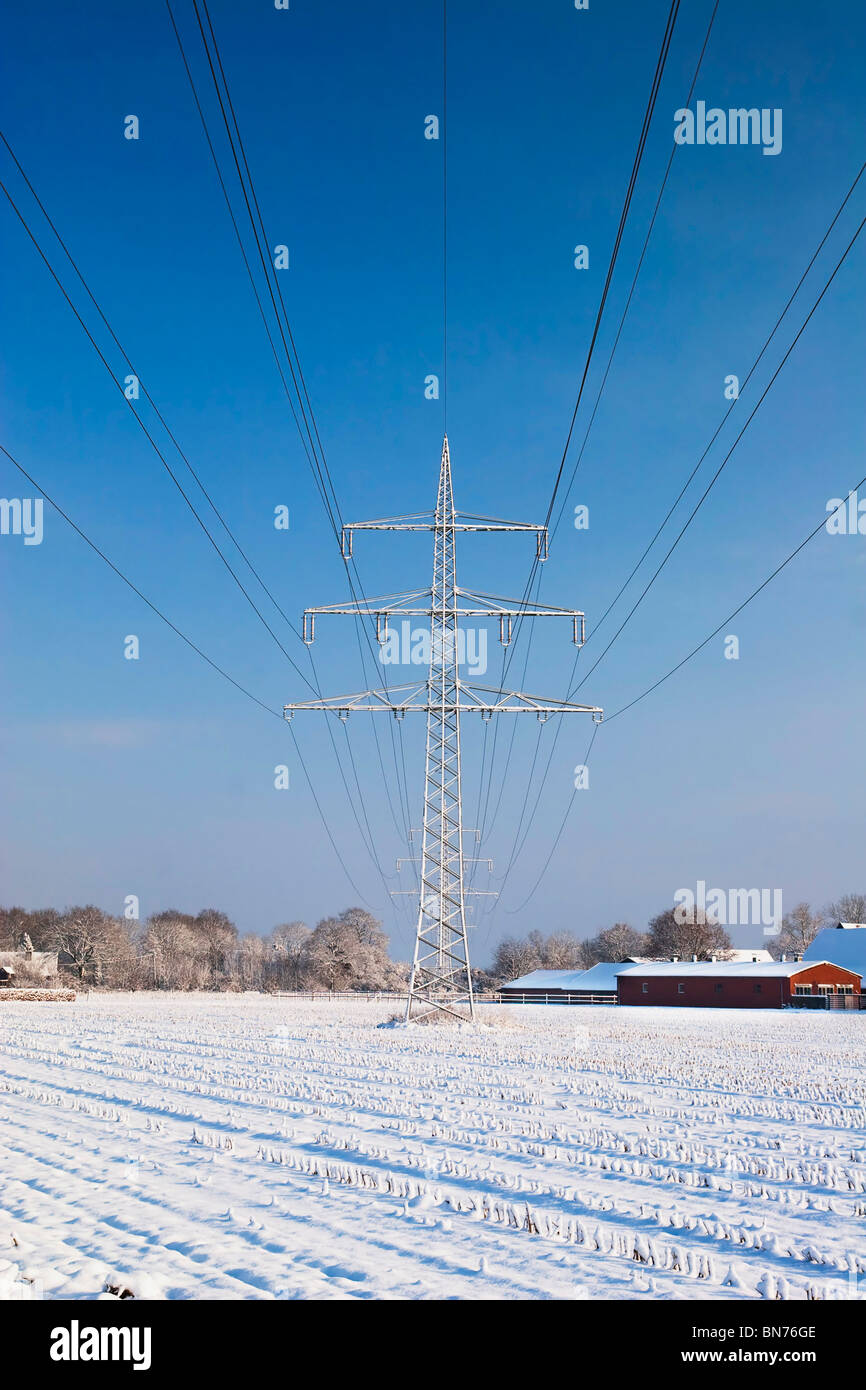Power line with snow and blue sky - Stock Image