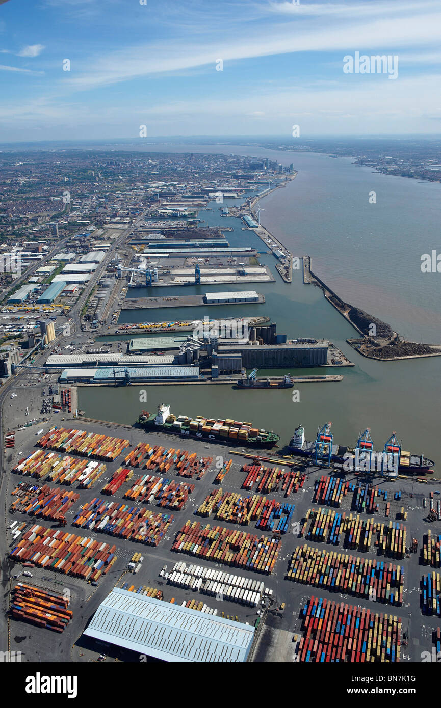 Liverpool Docks and the River Mersey from the air, North West England, with the city behind - Stock Image