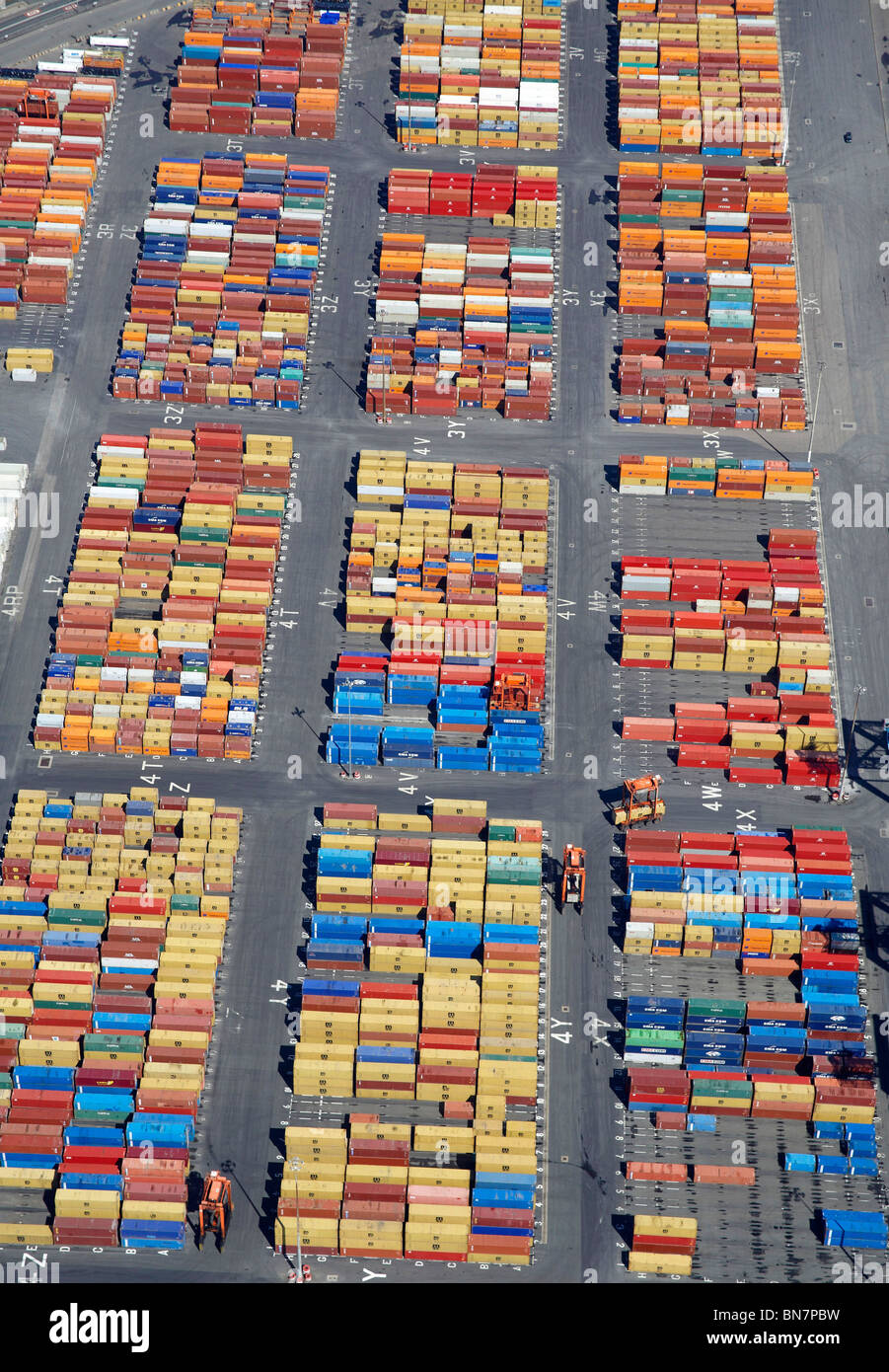 Containers at Bootle Docks, from the air, North West England - Stock Image