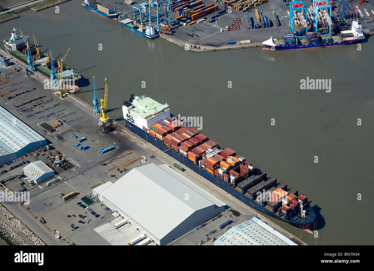 Liverpool Docks and the River Mersey from the air, North West England - Stock Image