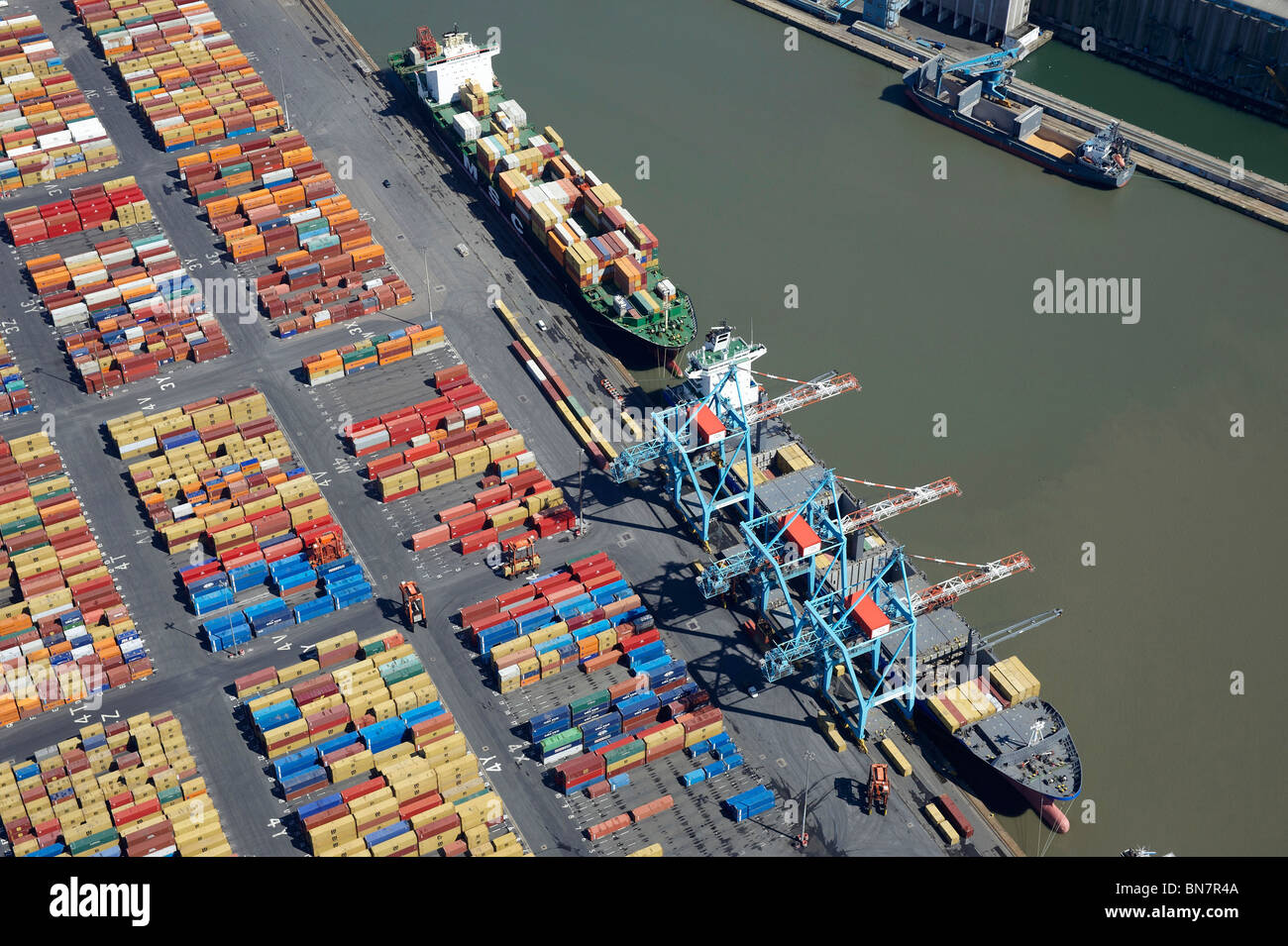 Ships loading at Bootle Docks, Liverpool , from the air, North West England - Stock Image