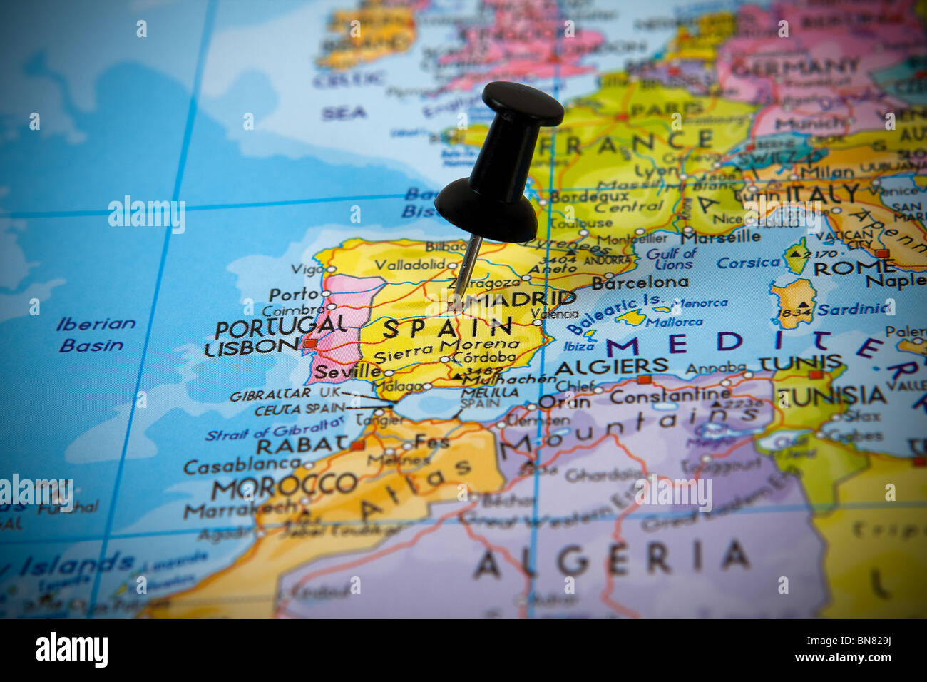 Small pin pointing on Madrid (Spain) in a map of Europe Stock Photo ...