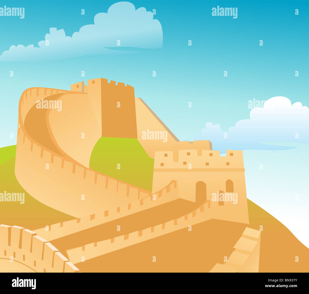 The great wall of China, with blue sky backdrop Stock Photo
