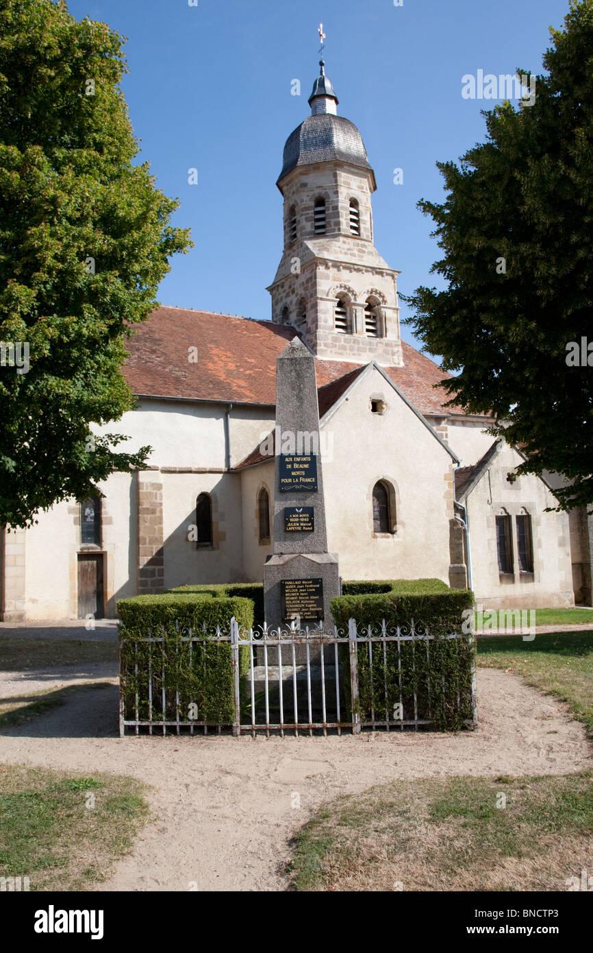 War memorial in the village of Louroux de Beaune, the Auvergne, France. - Stock Image