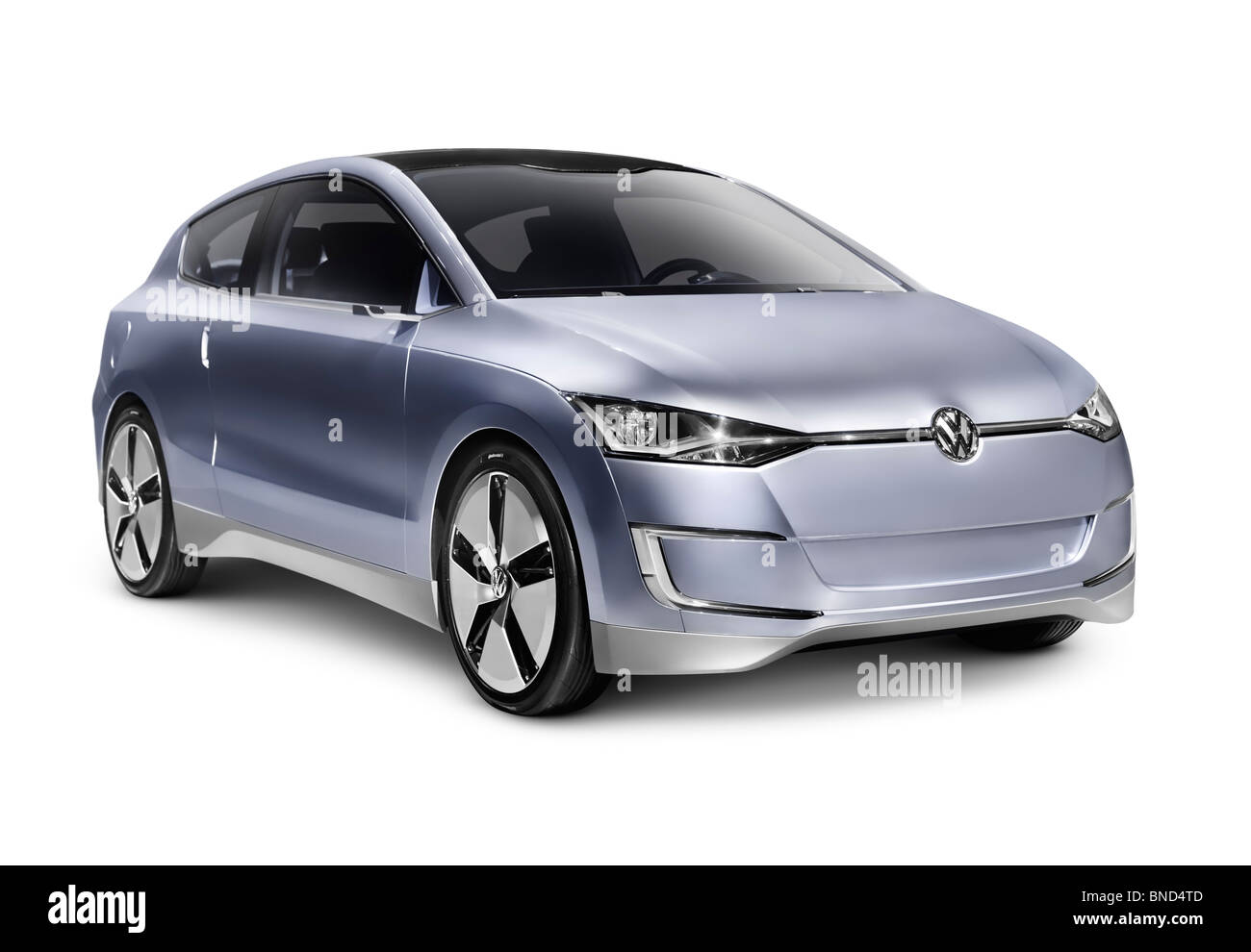 2010 Volkswagen Up! Lite Concept hybrid diesel fuel efficient city car. Isolated with clipping path on white background. - Stock Image