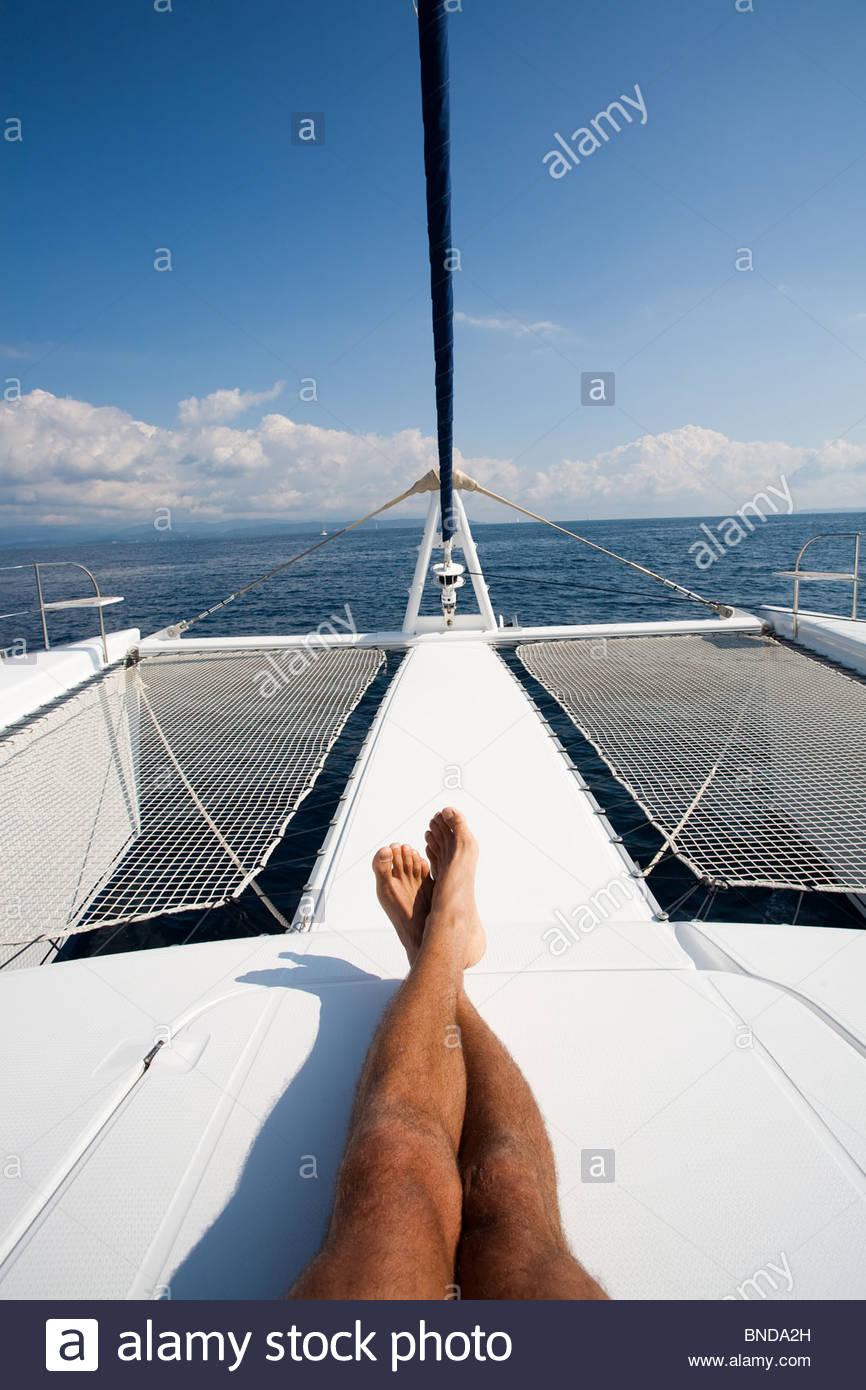 Man holidays seafaring - Stock Image