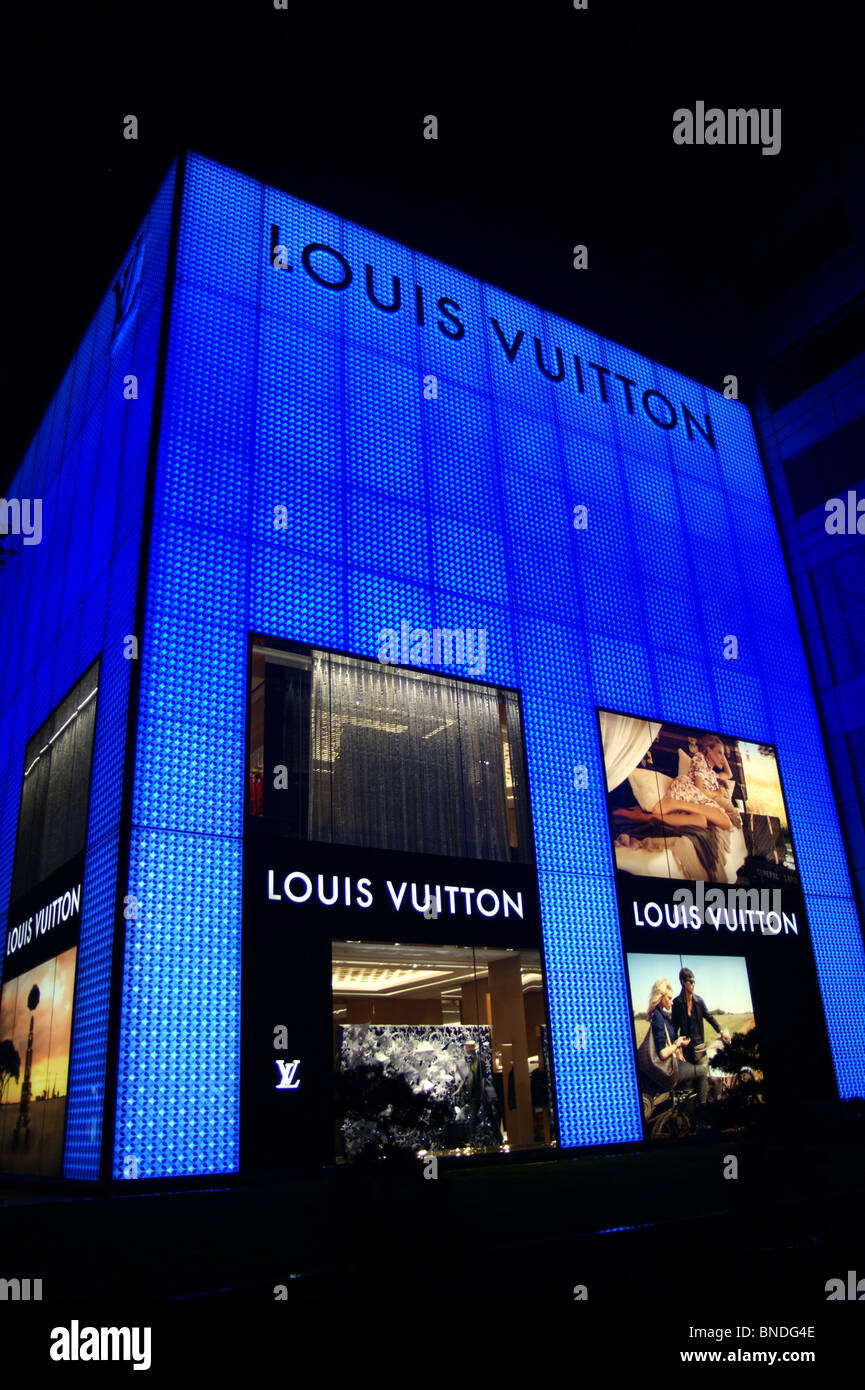 Louis Vuitton illuminated sign, Shanghai, China Stock Photo