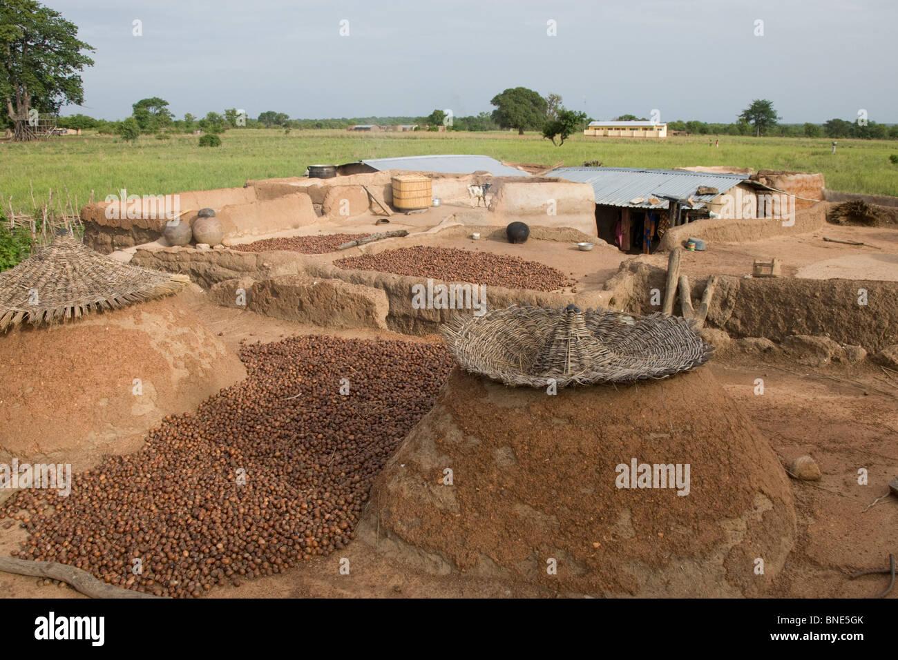 Rooftops of a Lobi compound used for food storage, Talawona, near Wechiau, Ghana. - Stock Image