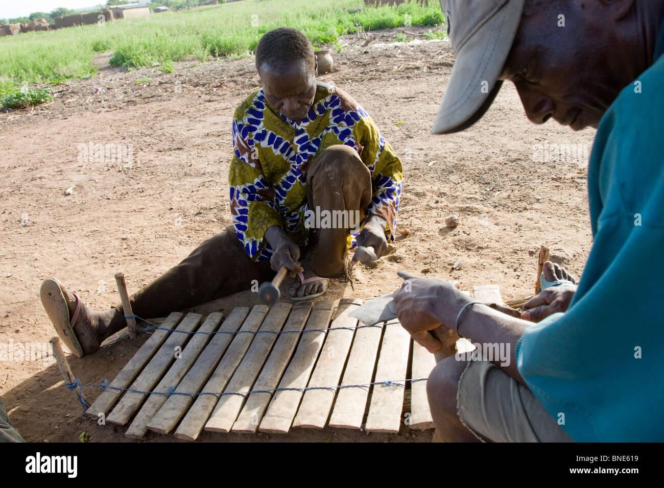 Lobi xylophone player, Talawona, Wechiau Community Hippo Sanctuary, near Wa, Ghana. - Stock Image