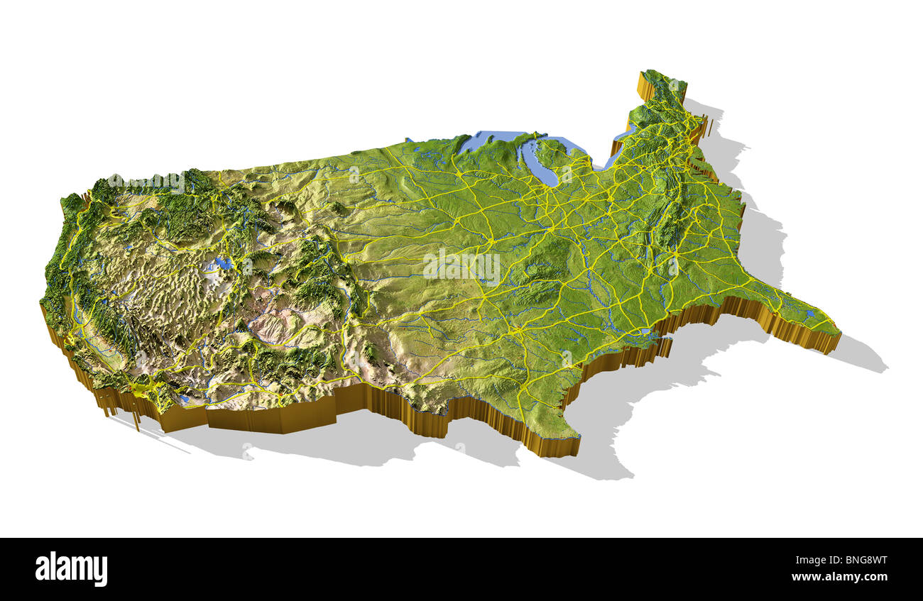 3d Map Of Us.Coterminous United States 3d Relief Map Cut Out With Urban Areas