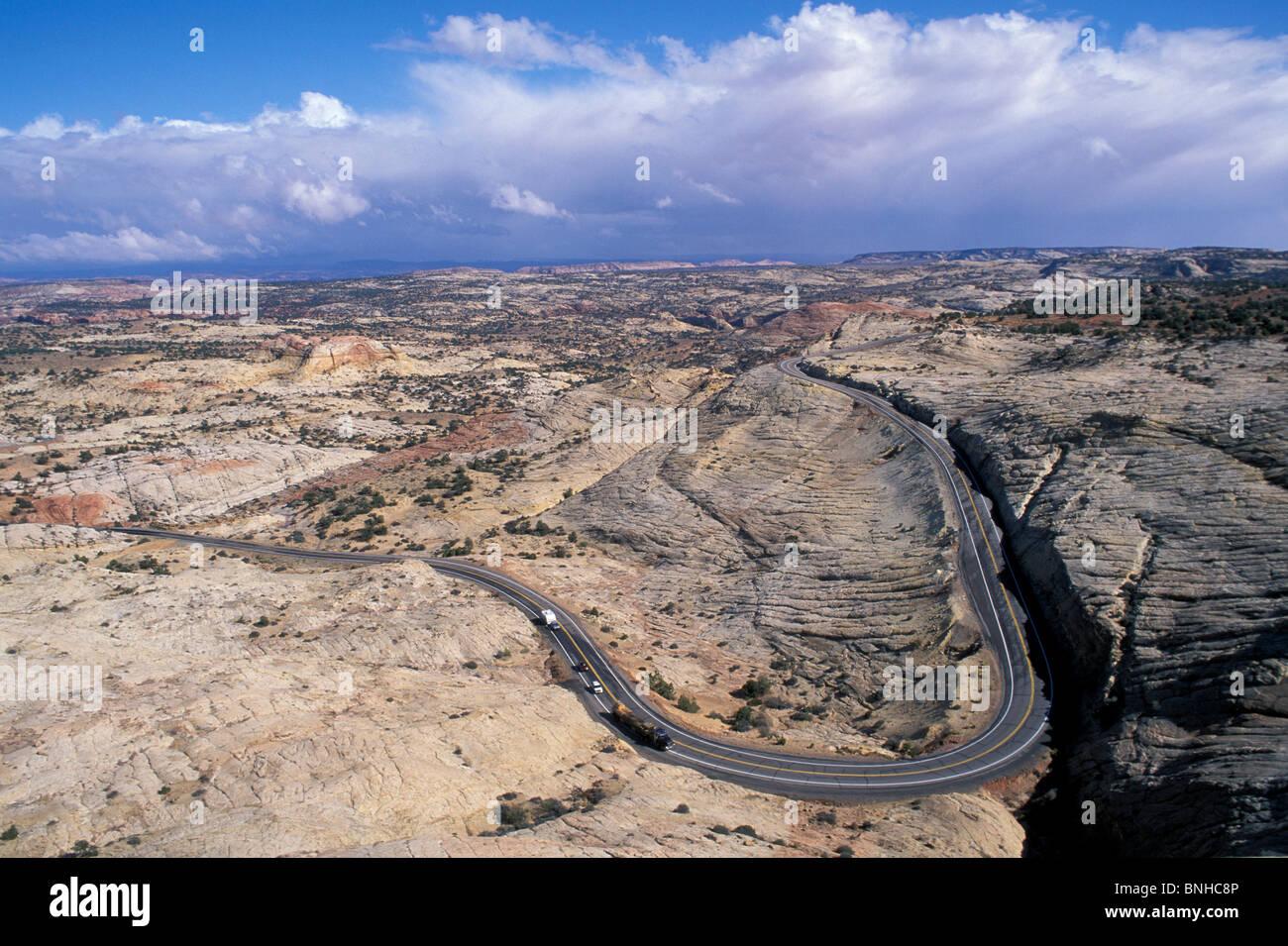 Usa Escalante Utah Highway 12 Near Escalante Grand Staircase Escalante National Monument Road Landscape Scenery - Stock Image