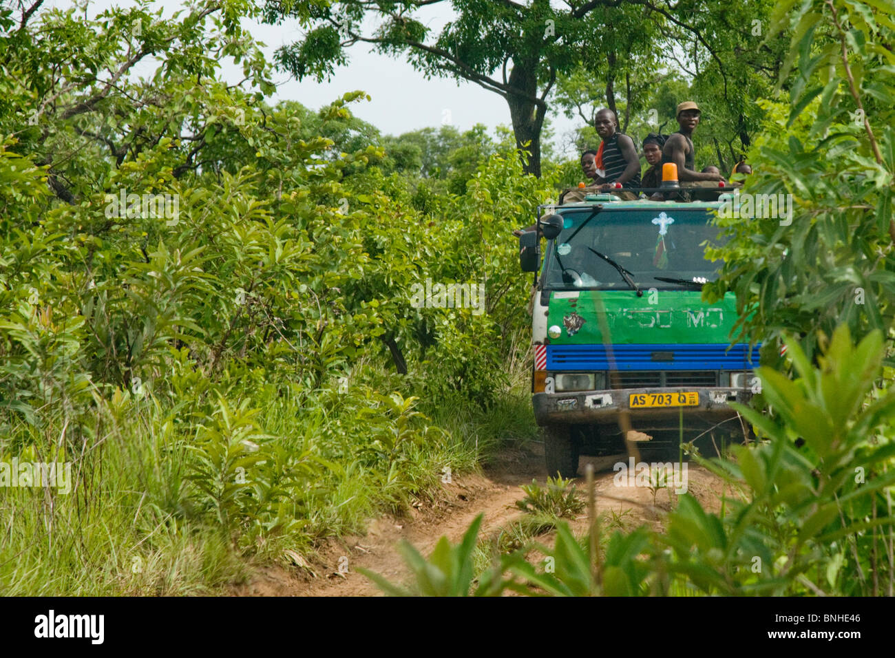 Itinerant farmers, moving to a new location in the Gonja triangle, Damango district, Ghana. Stock Photo