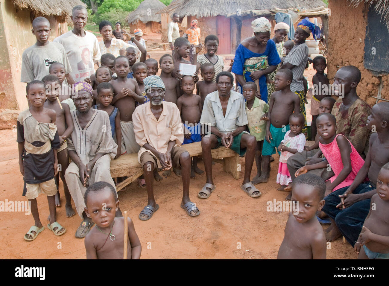 The chief and people of Bouchipe, a village in the Gonja Triangle, Damango district, Ghana. Stock Photo
