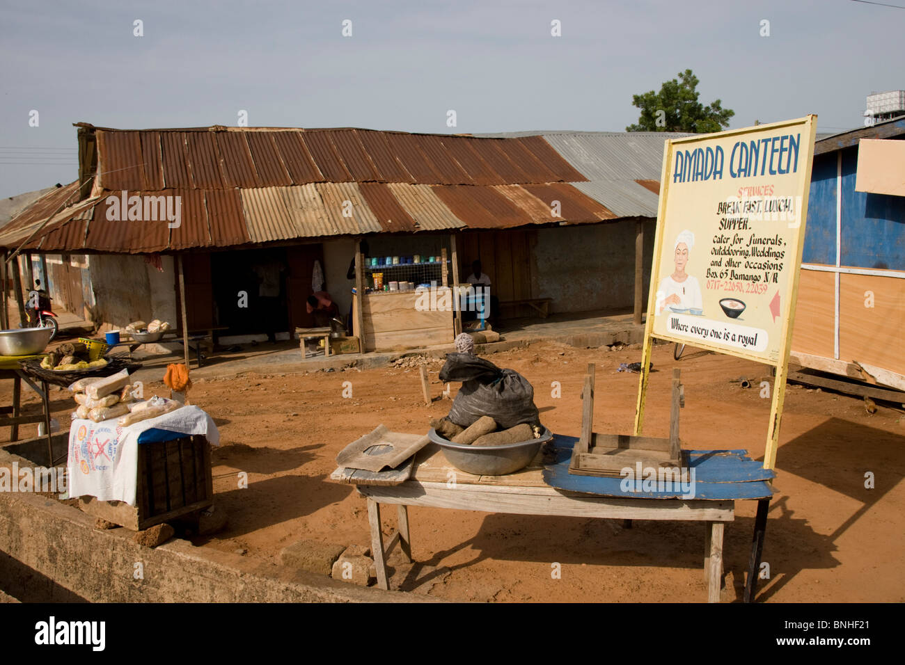The only restaurant in Damango, northwest Ghana. Stock Photo