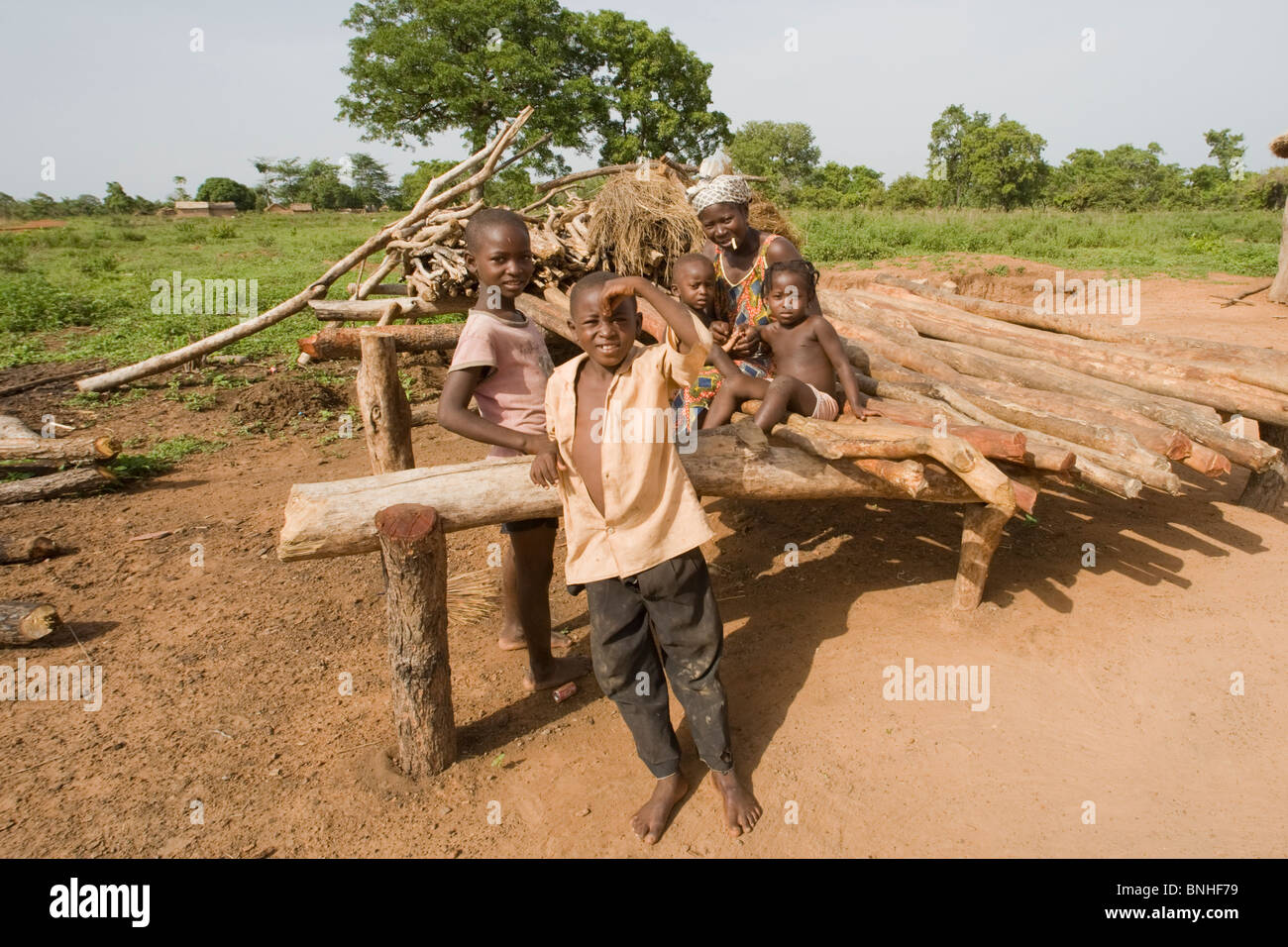 Bemobah family at the village of Sor No. 1, Gonja triangle, Damango district, Ghana. Stock Photo